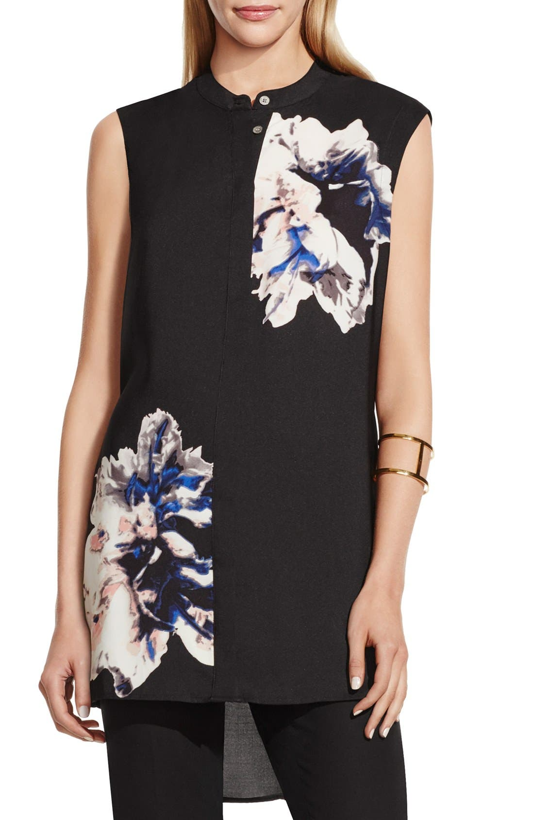 Alternate Image 1 Selected - Vince Camuto 'Duet Floral' Sleeveless Tunic Blouse