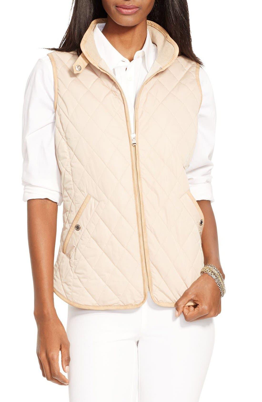 Alternate Image 1 Selected - Lauren Ralph Lauren Faux Leather Trim Vest