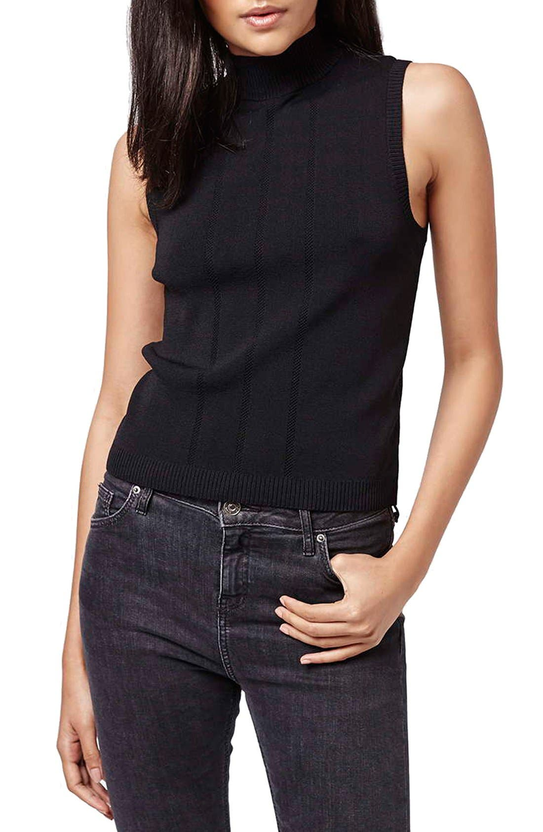 Alternate Image 3  - Topshop Lace-Up Ribbed Tank