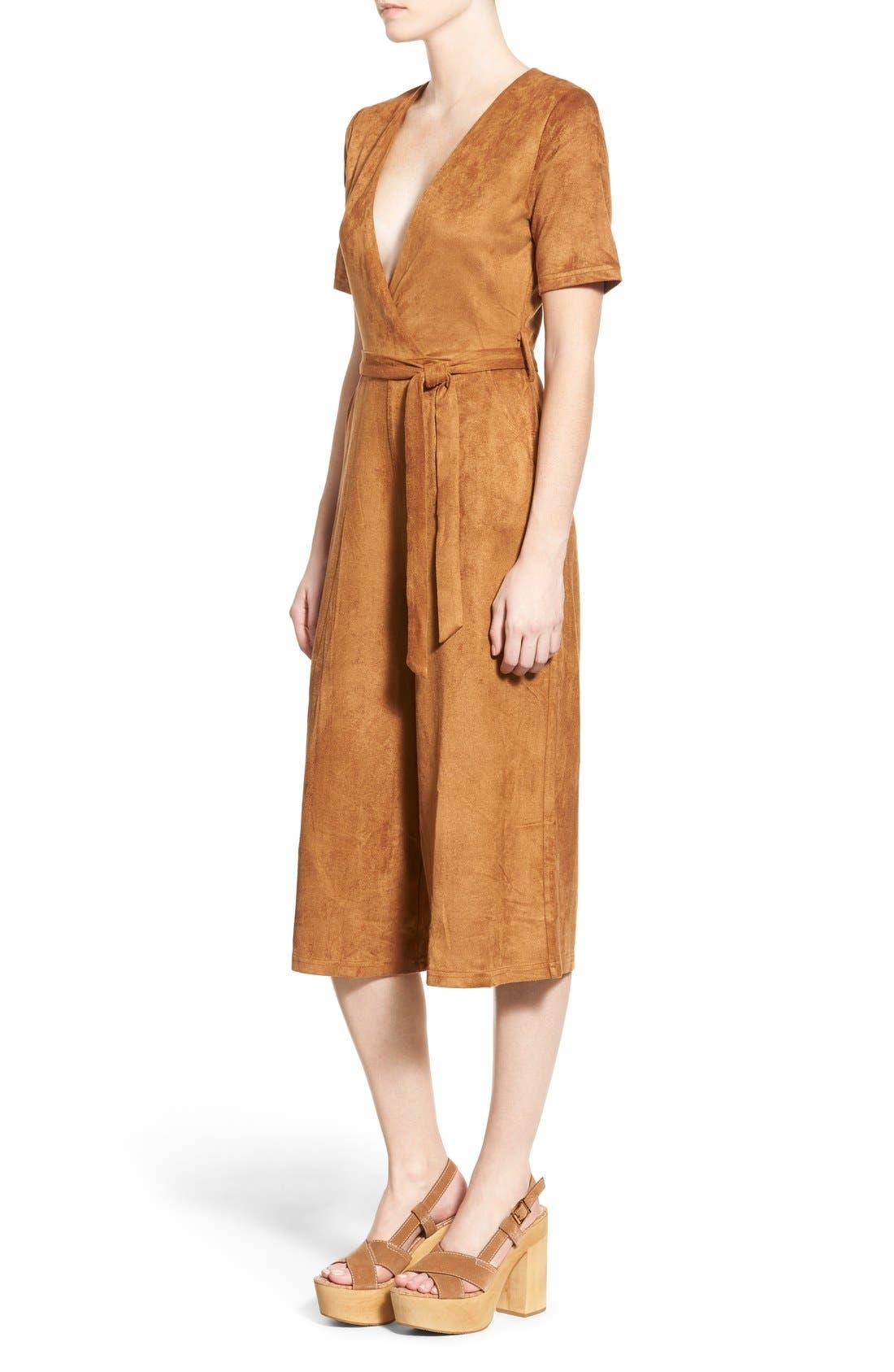 Alternate Image 3  - Missguided Faux Suede Culotte Jumpsuit