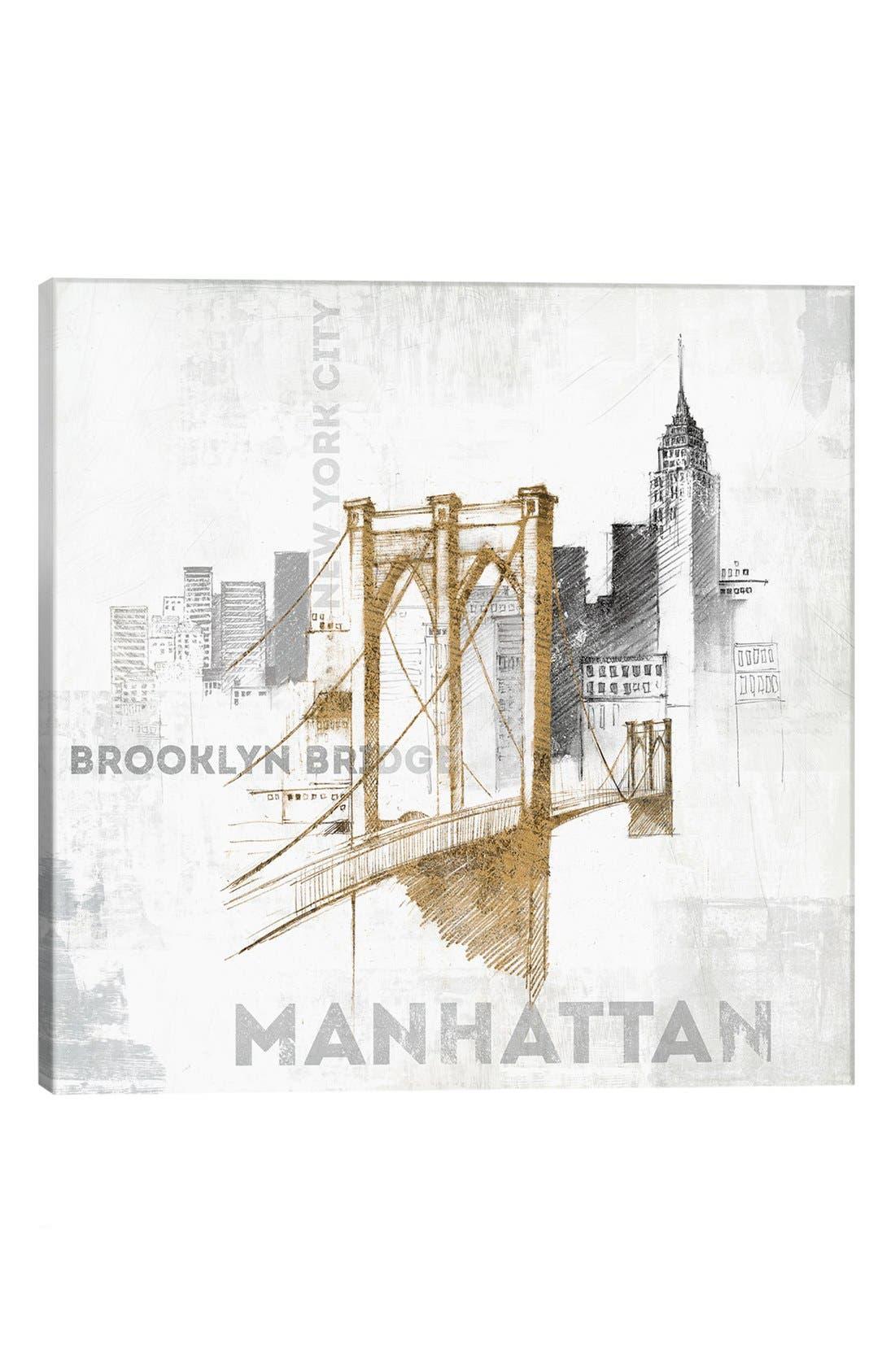 Alternate Image 1 Selected - iCanvas 'Brooklyn Bridge' Giclée Print Canvas Art