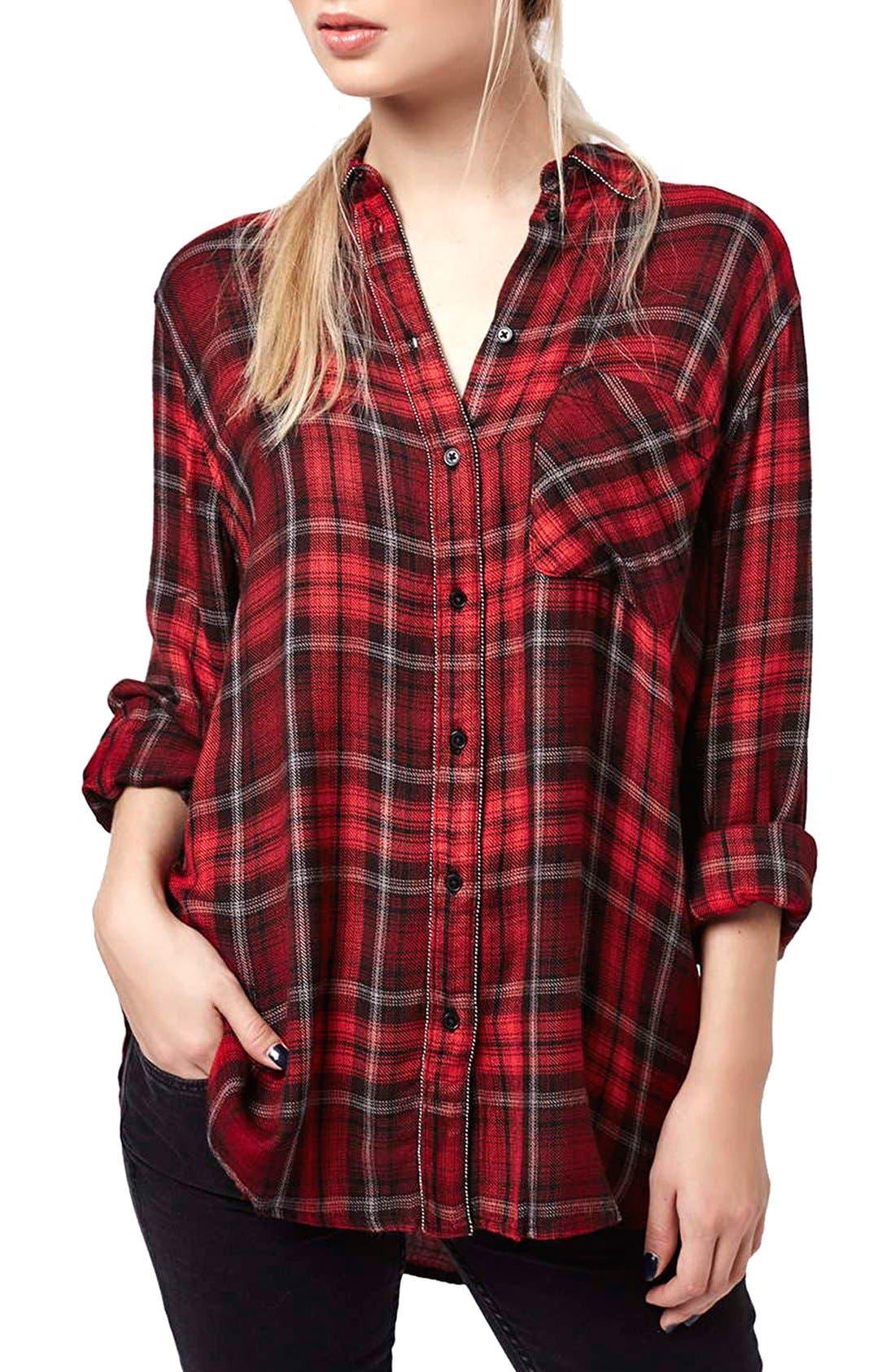 Main Image - Topshop 'Ali' Beaded Plaid Shirt