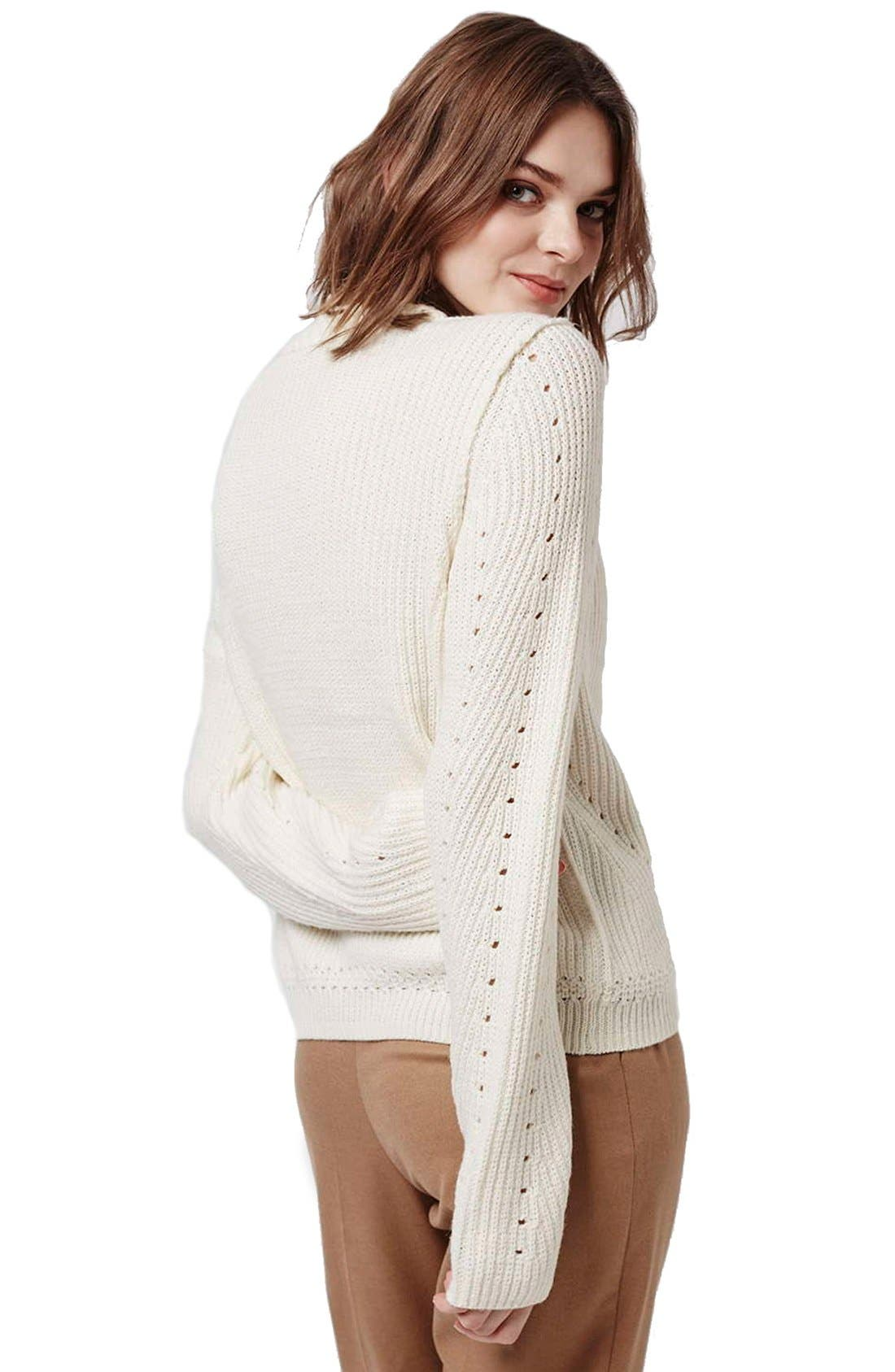 Alternate Image 3  - Topshop Pointelle Ribbed Crewneck Sweater