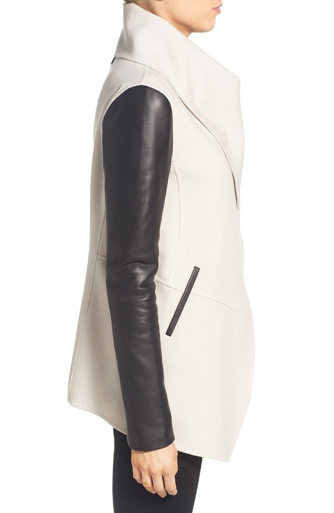 Alternate Image 3  - Mackage Leather Sleeve Wool Blend Drape Collar Coat