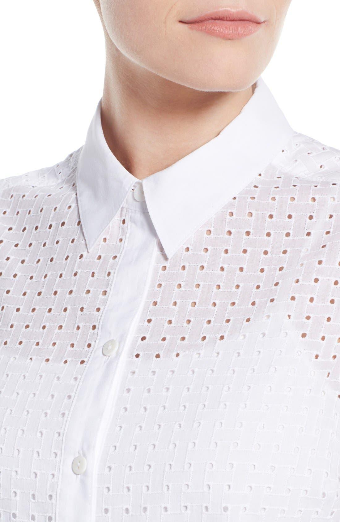 Alternate Image 4  - Foxcroft Basket Weave Eyelet Sleeveless Shirt