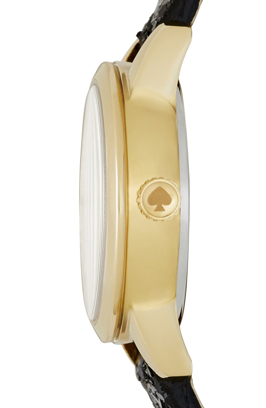 Alternate Image 3  - kate spade new york 'tiny metro' embellished leather strap watch, 20mm