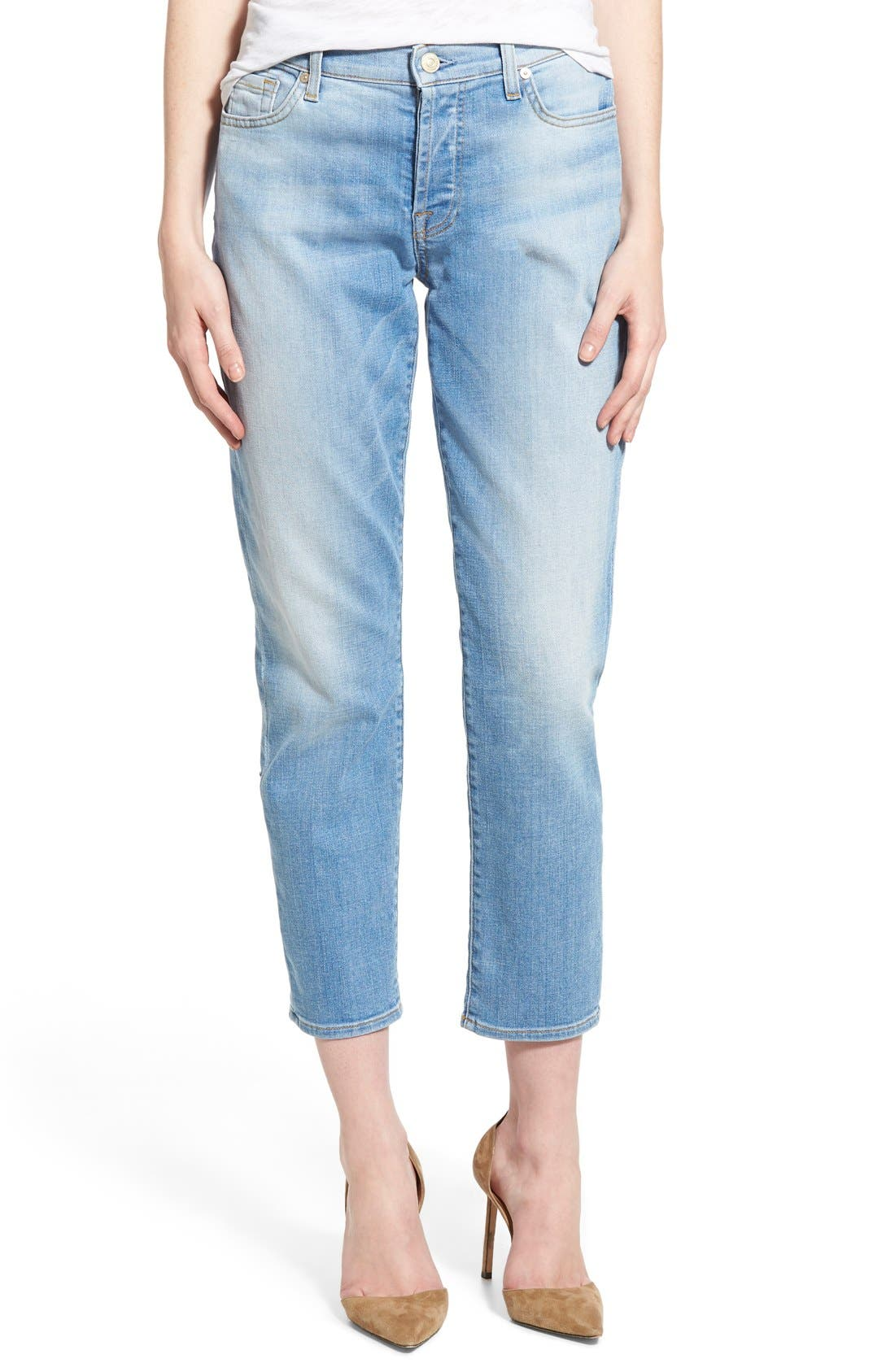 Main Image - 7 For All Mankind® 'Josefina' Mid Rise Boyfriend Jeans (Mediterranean Sky)