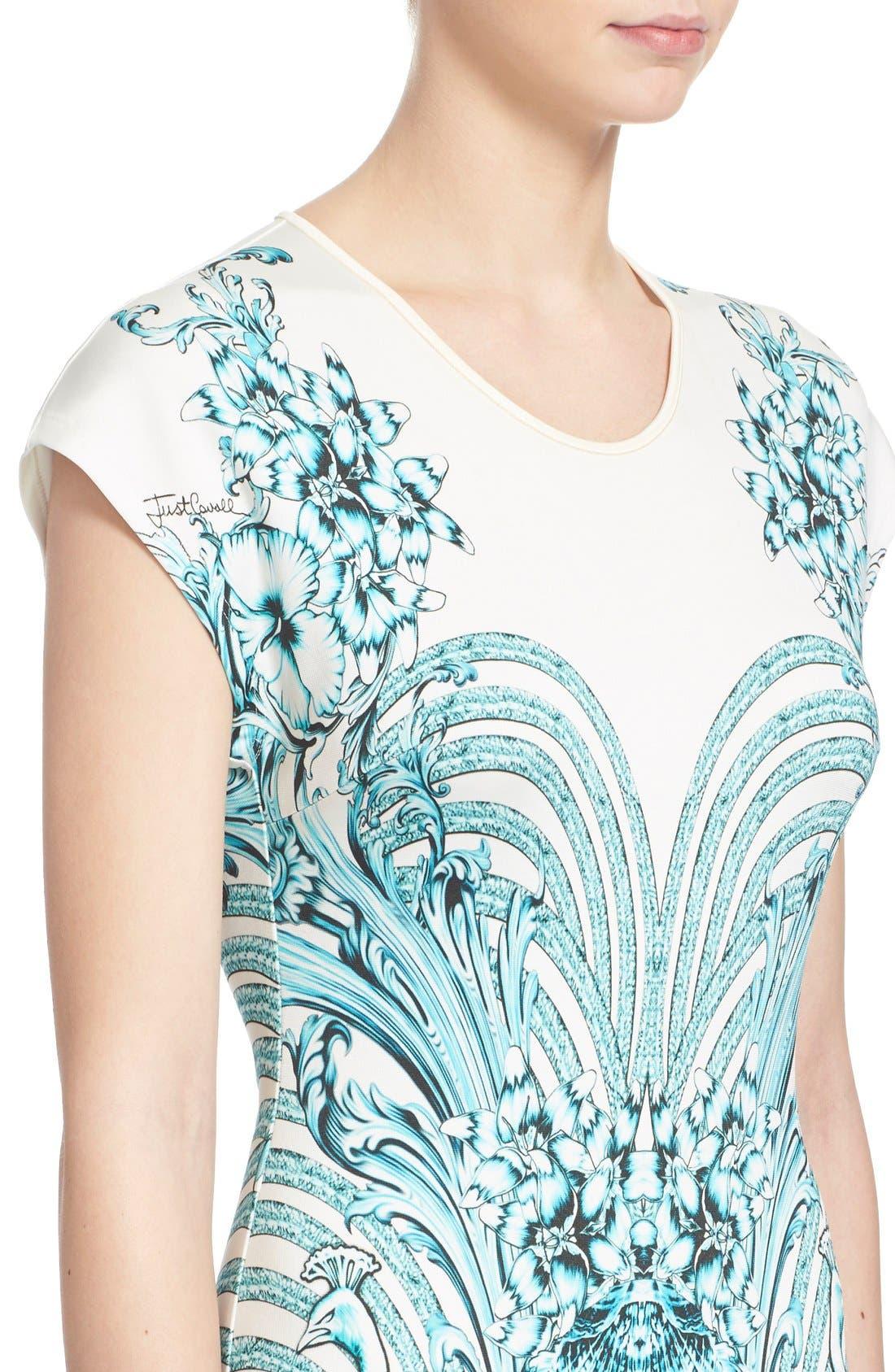 Alternate Image 5  - Just Cavalli Peacock Jersey Body-Con Dress