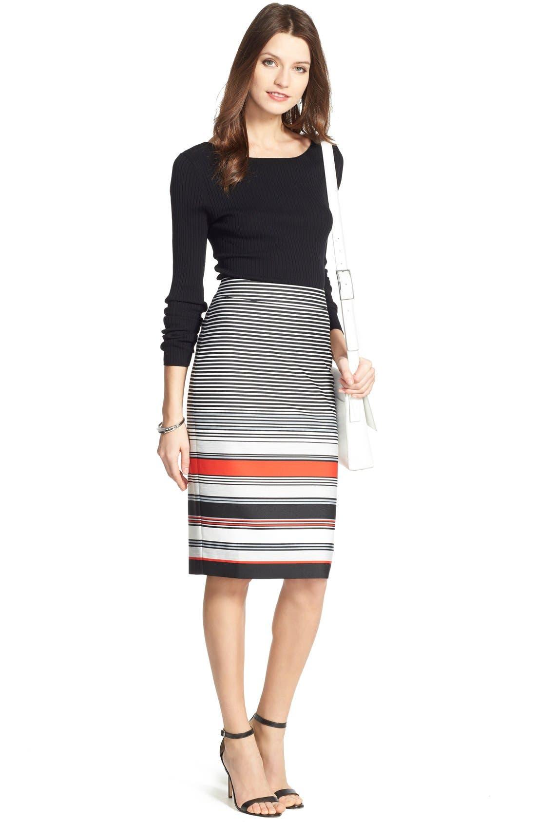 Alternate Image 6  - Classiques Entier® 'Gallery Stripe' Pencil Skirt (Regular & Petite)
