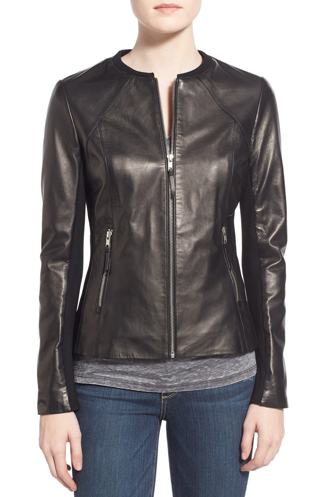 Main Image - Soia & Kyo Slim Fit Zip Front Leather Jacket