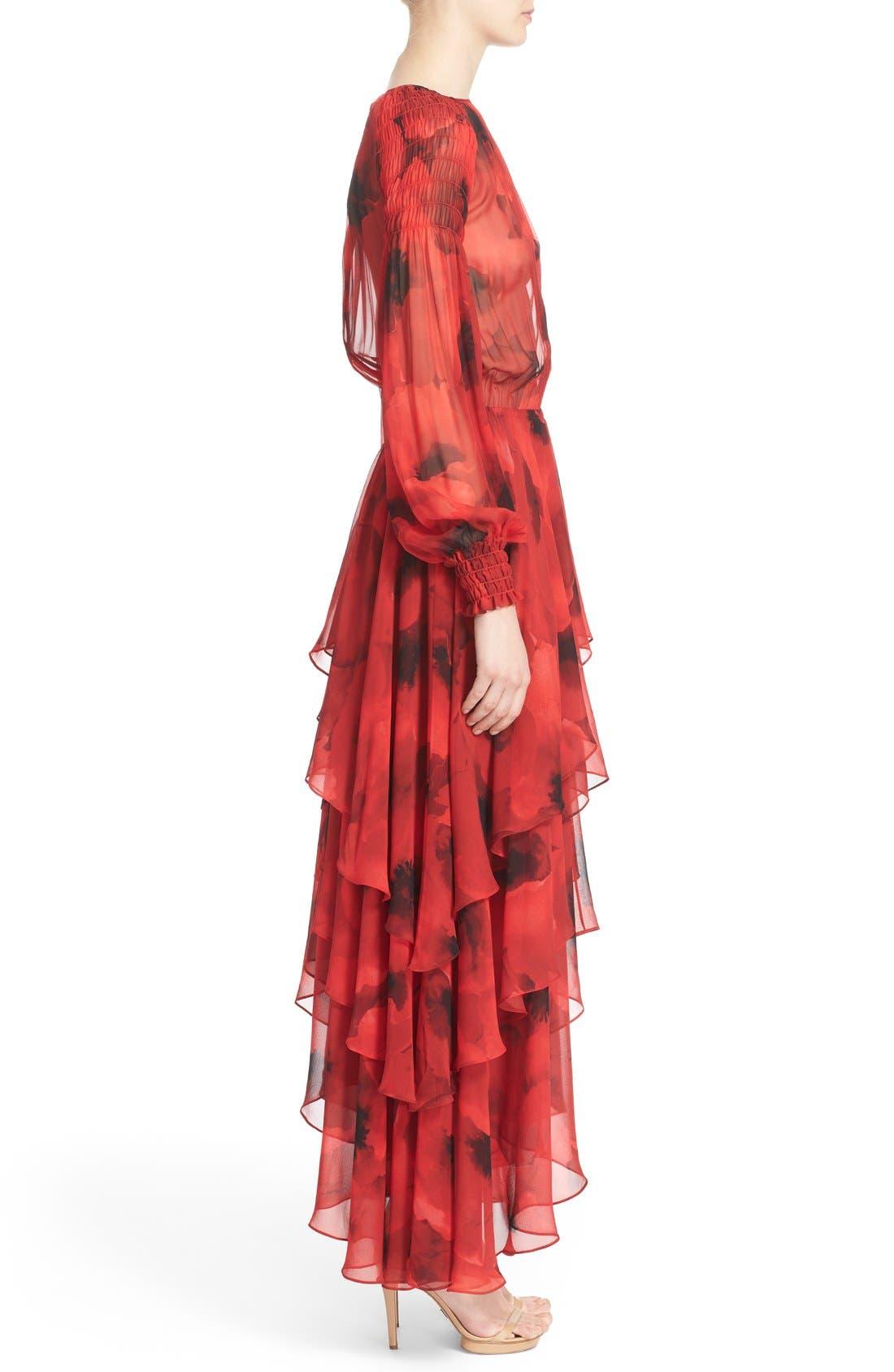 Alternate Image 5  - Michael Kors Poppy Print Tiered Silk Peasant Dress