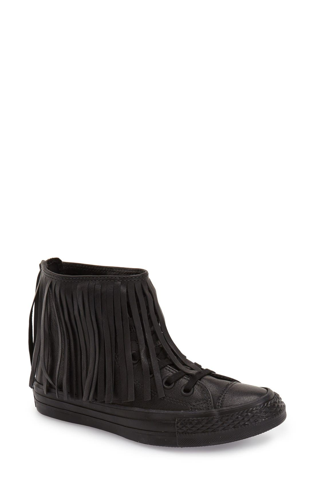 Main Image - Converse Chuck Taylor® All Star® Fringe Leather High Top Sneaker (Women)