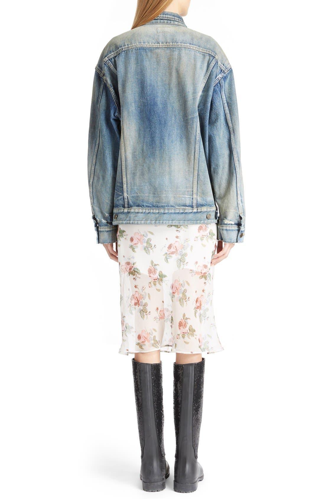 Alternate Image 2  - Saint Laurent Oversize Vintage Wash Denim Jacket