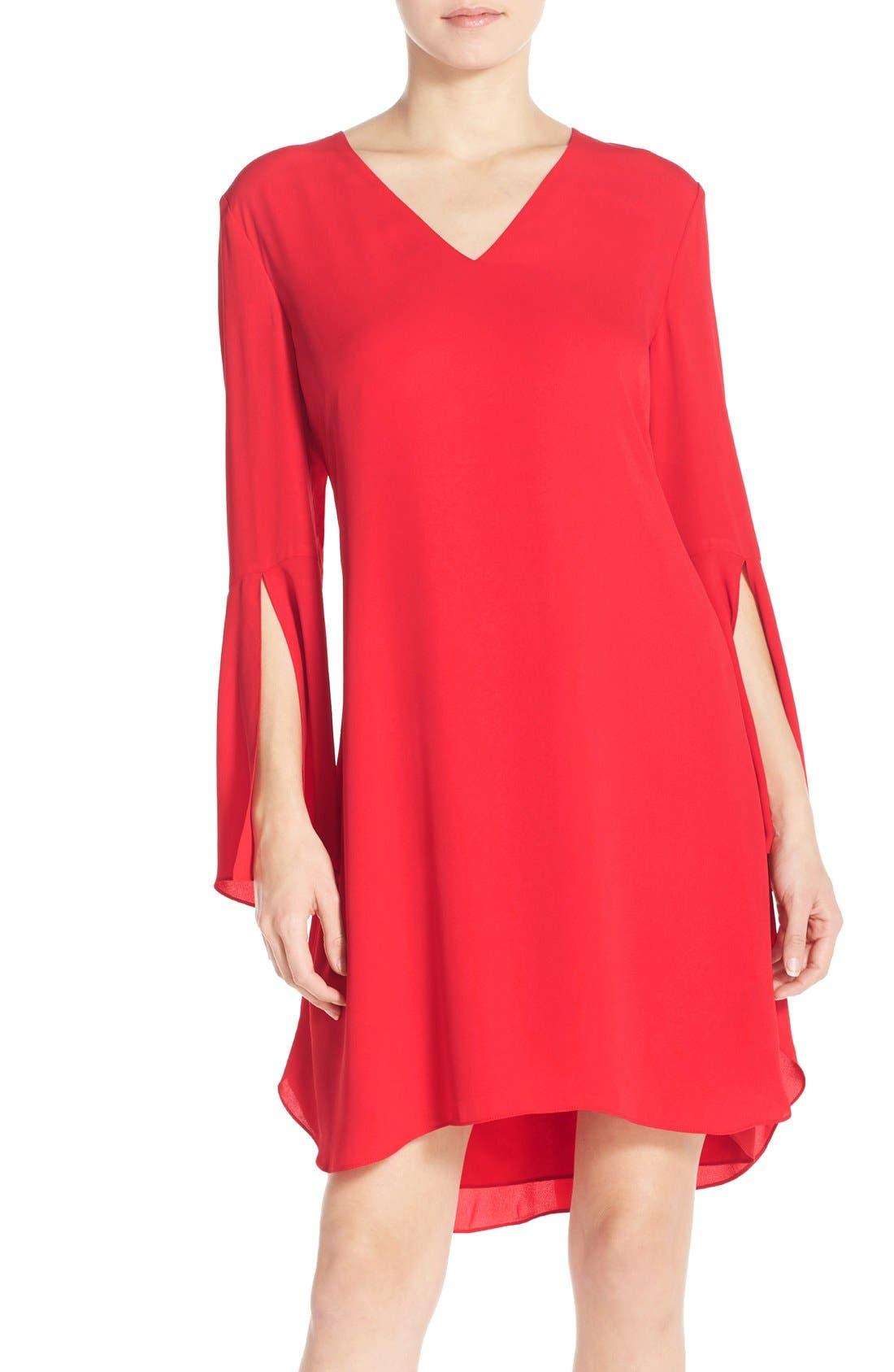 Chelsea28 Bell Sleeve Chiffon A-Line Dress