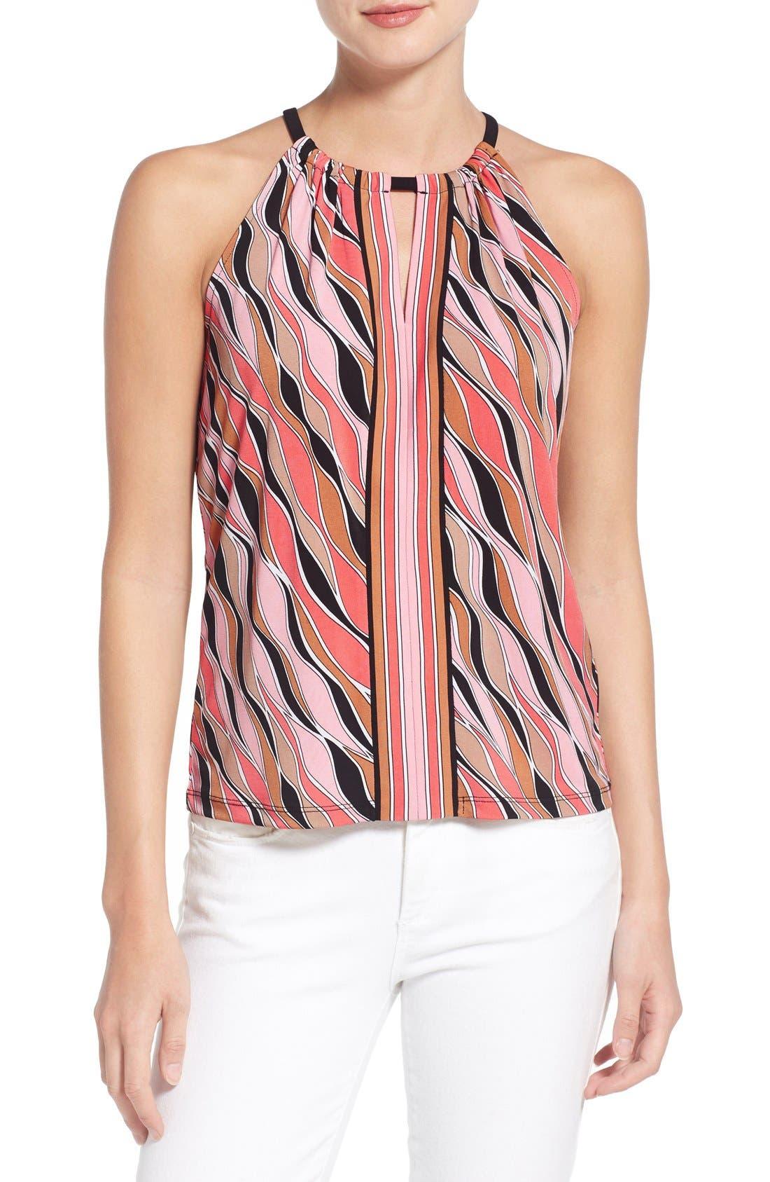 Main Image - MICHAEL Michael Kors 'Coley' Print Jersey Halter Style Top