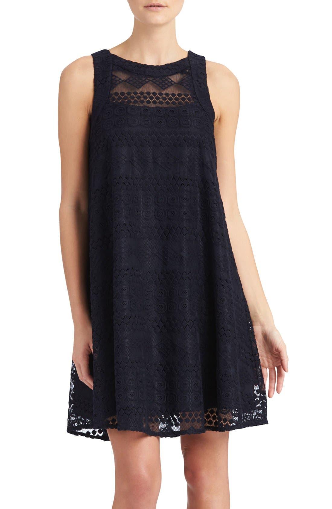Main Image - Donna Morgan Embroidered Mesh Swing Dress