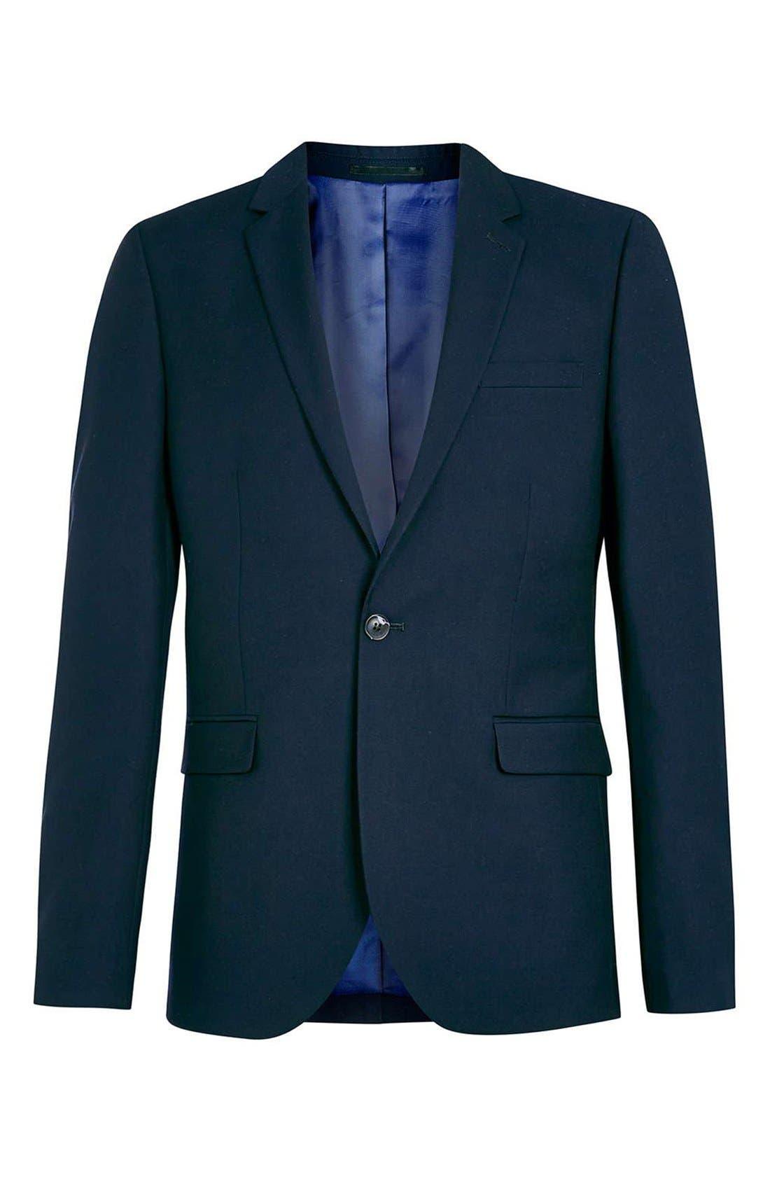 Alternate Image 5  - Topman Navy Skinny Fit Suit Jacket