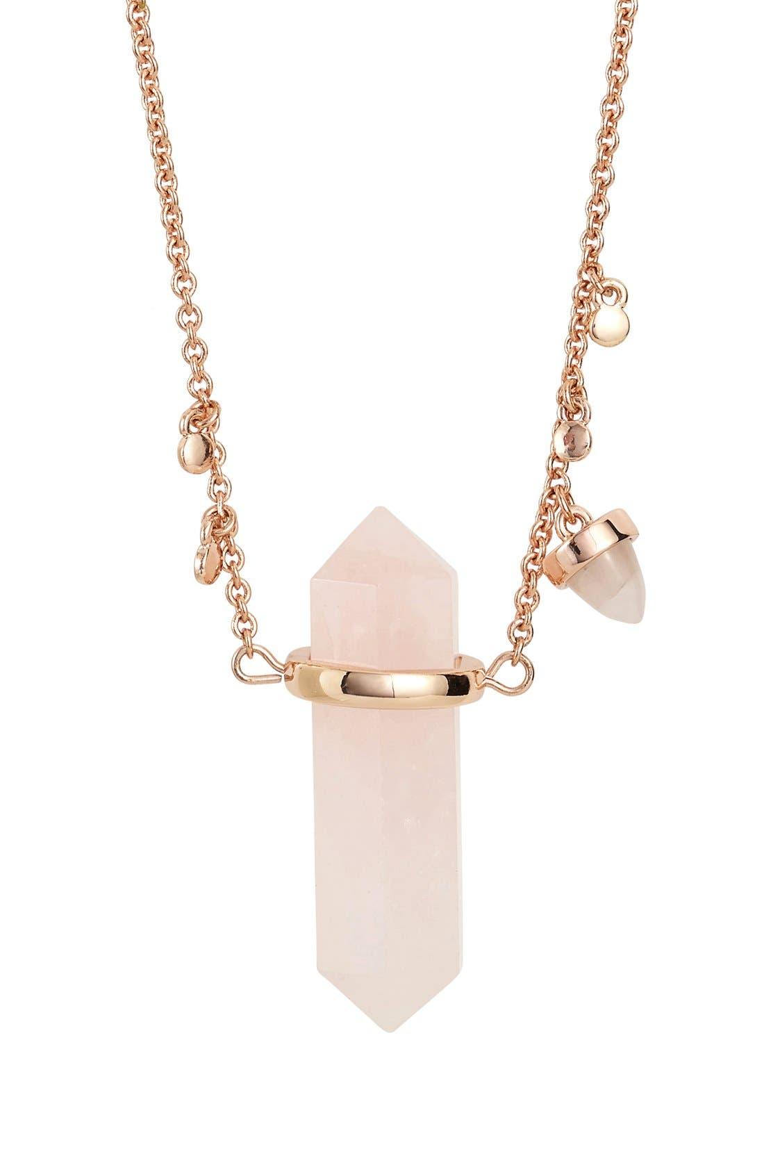 Alternate Image 2  - Rebecca Minkoff Long Raw Crystal Pendant Necklace