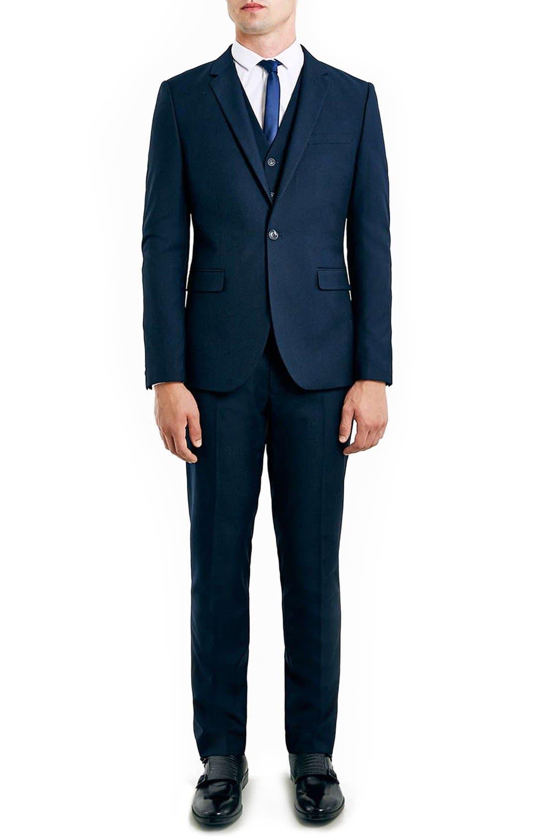 Alternate Image 2  - Topman Navy Skinny Fit Suit Jacket