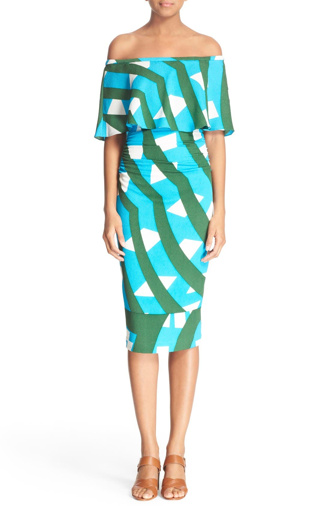 Main Image - Tracy Reese Print Off the Shoulder Flounce Dress
