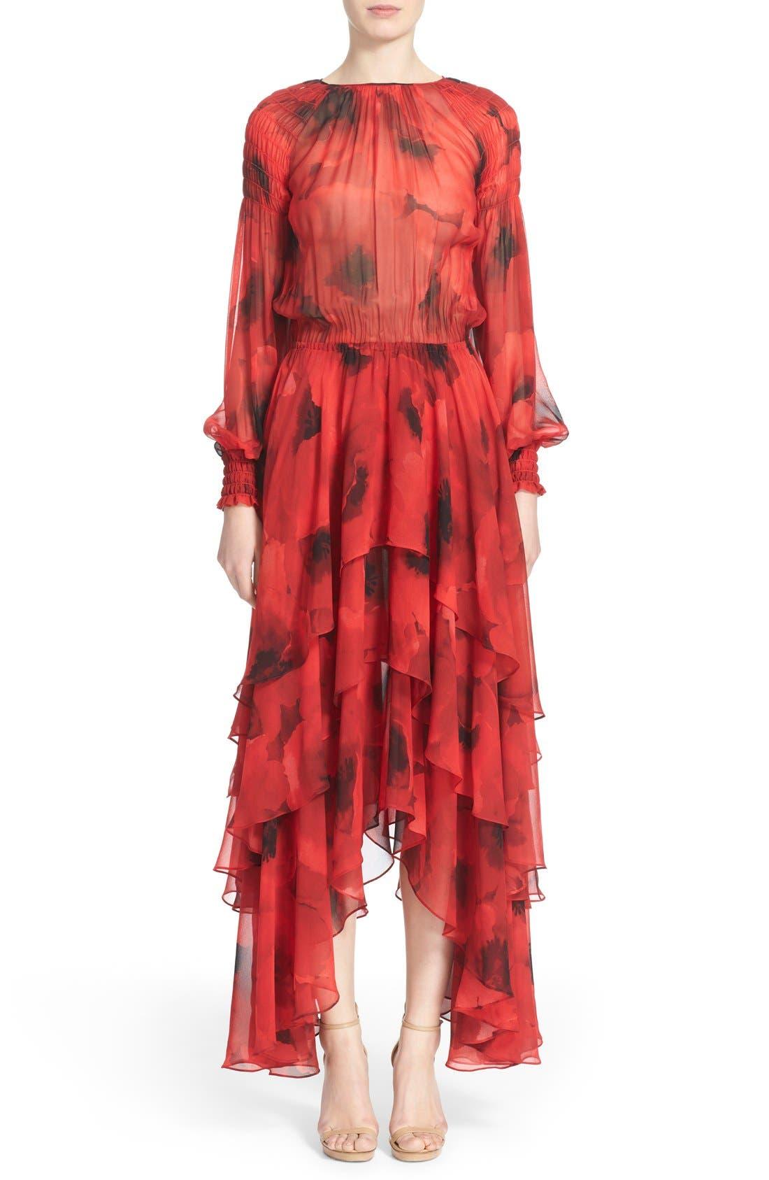 Alternate Image 1 Selected - Michael Kors Poppy Print Tiered Silk Peasant Dress