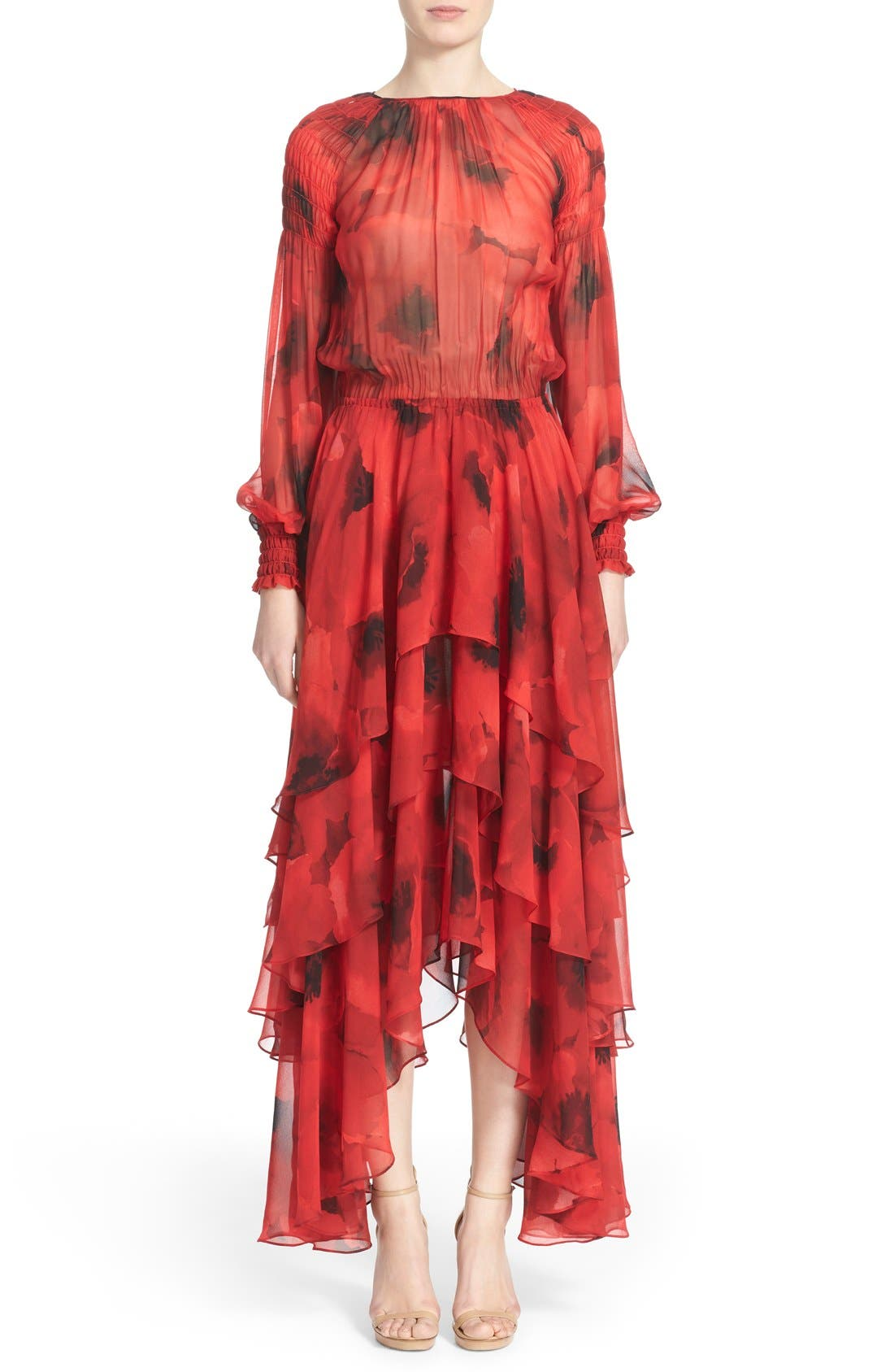 Main Image - Michael Kors Poppy Print Tiered Silk Peasant Dress