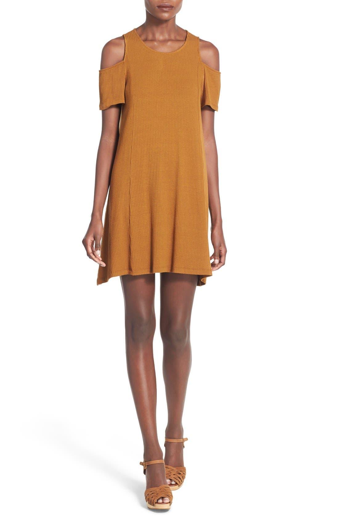 Main Image - Lush Cold Shoulder Rib Knit Shift Dress