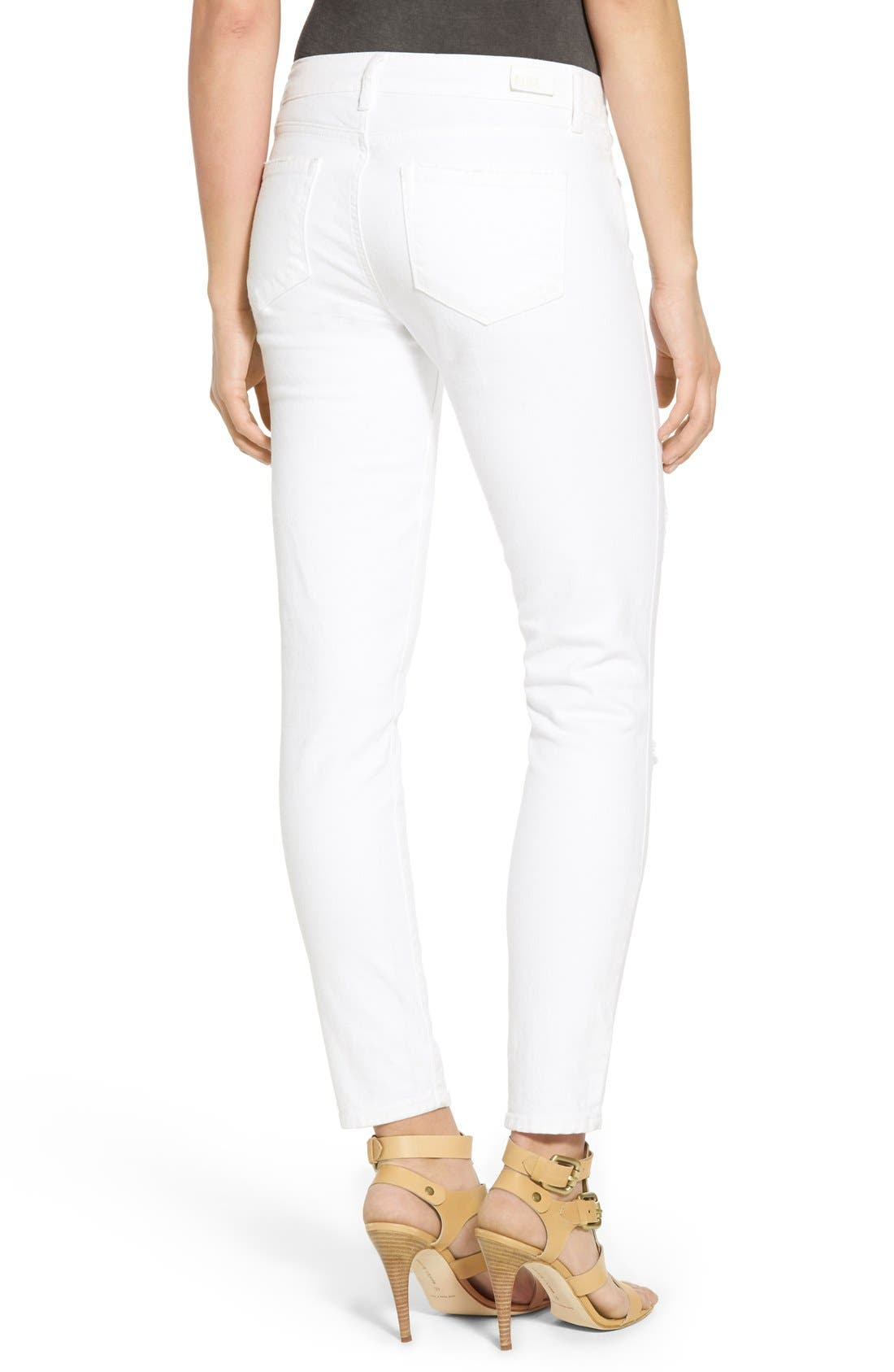 Alternate Image 2  - PAIGE 'Verdugo' Ankle Skinny Jeans (Arctic White Destructed)