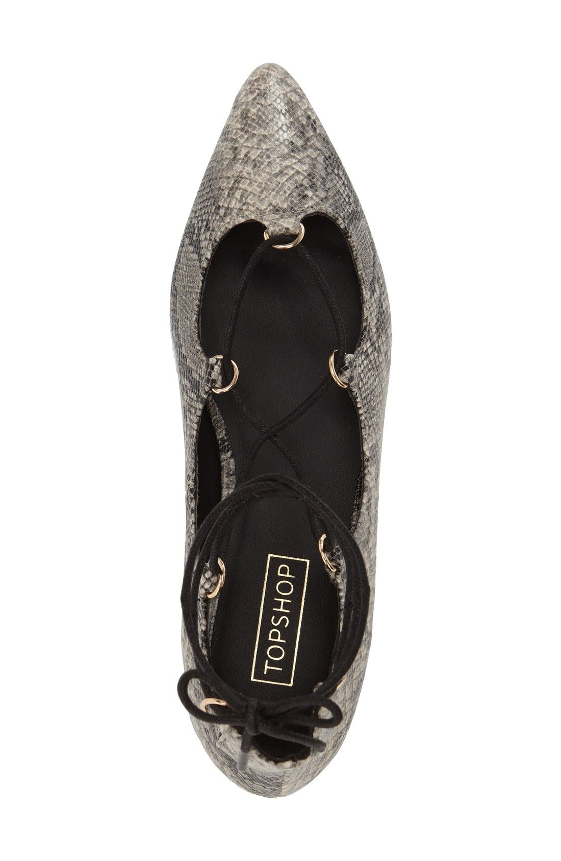 Alternate Image 3  - Topshop 'Fancy' Pointy Toe Ghillie Flat (Women)