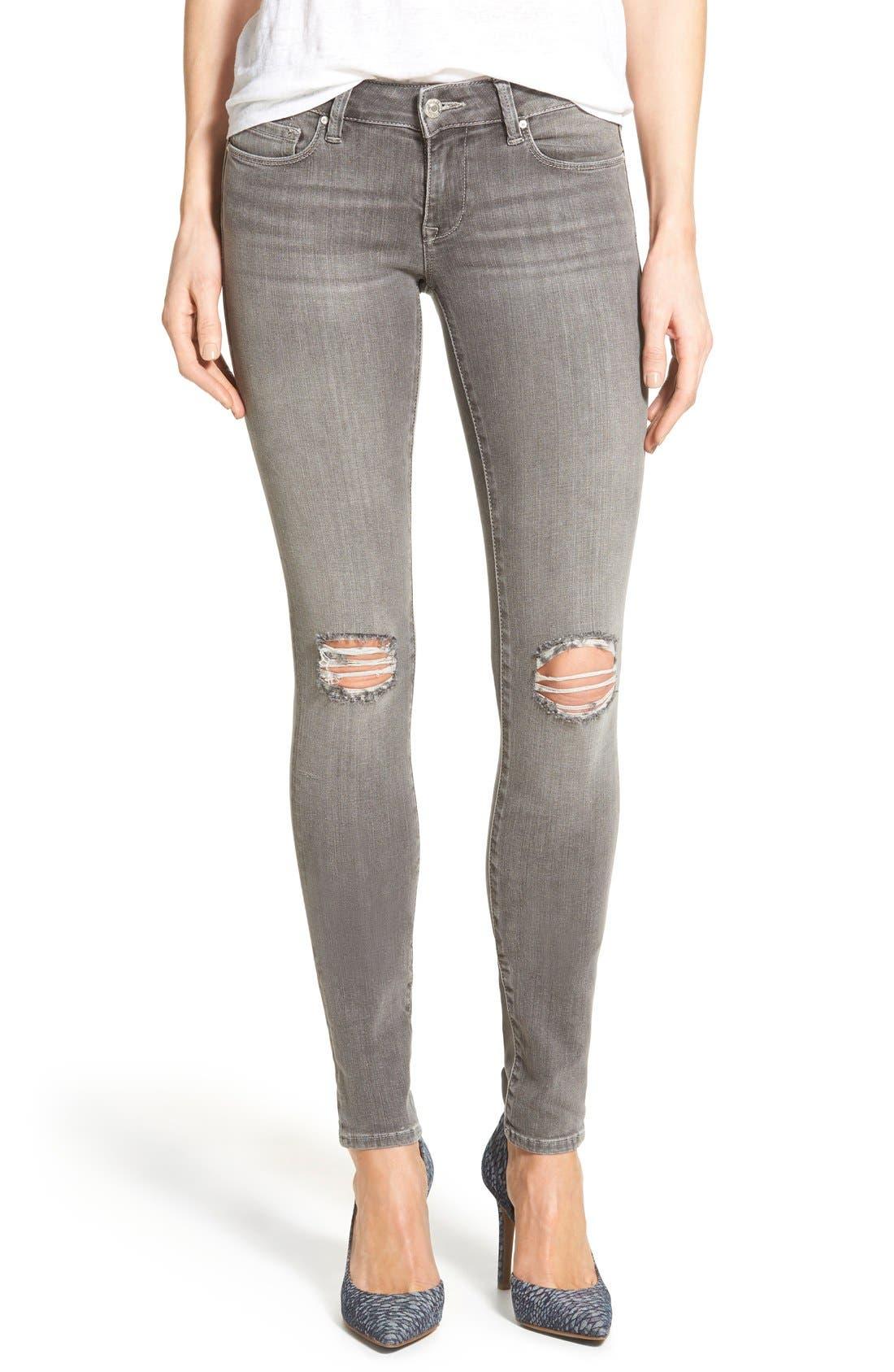 Alternate Image 1 Selected - Mavi Jeans 'Serena' Distressed Stretch Skinny Jeans (Grey Ripped)