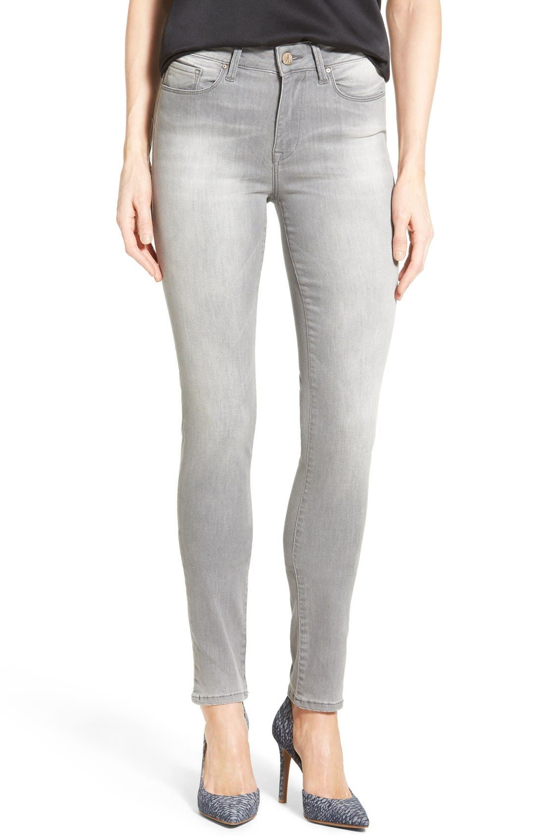 Alternate Image 1 Selected - Mavi Jeans 'Alissa' Stretch Skinny Jeans (Light Grey Tribeca) (Petite)