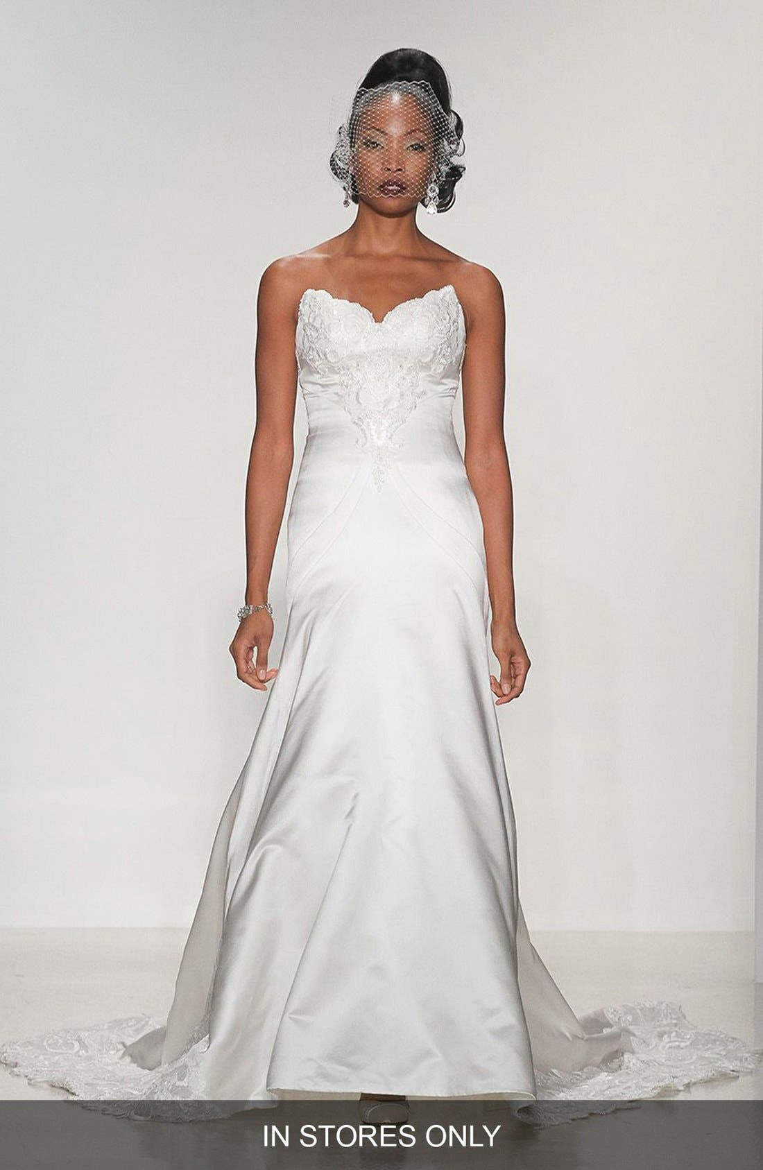 MATTHEW CHRISTOPHER 'Lillian' Strapless Lace & Duchess Satin