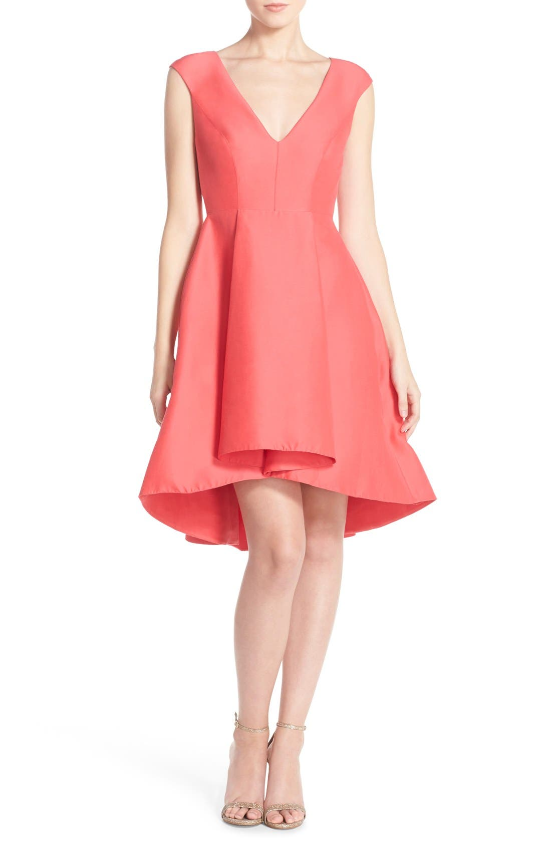 Alternate Image 1 Selected - Halston Heritage Cap Sleeve High/Low Fit & Flare Dress