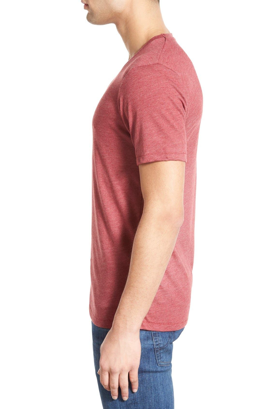 Alternate Image 3  - Alternative Heathered Trim Fit V-Neck T-Shirt