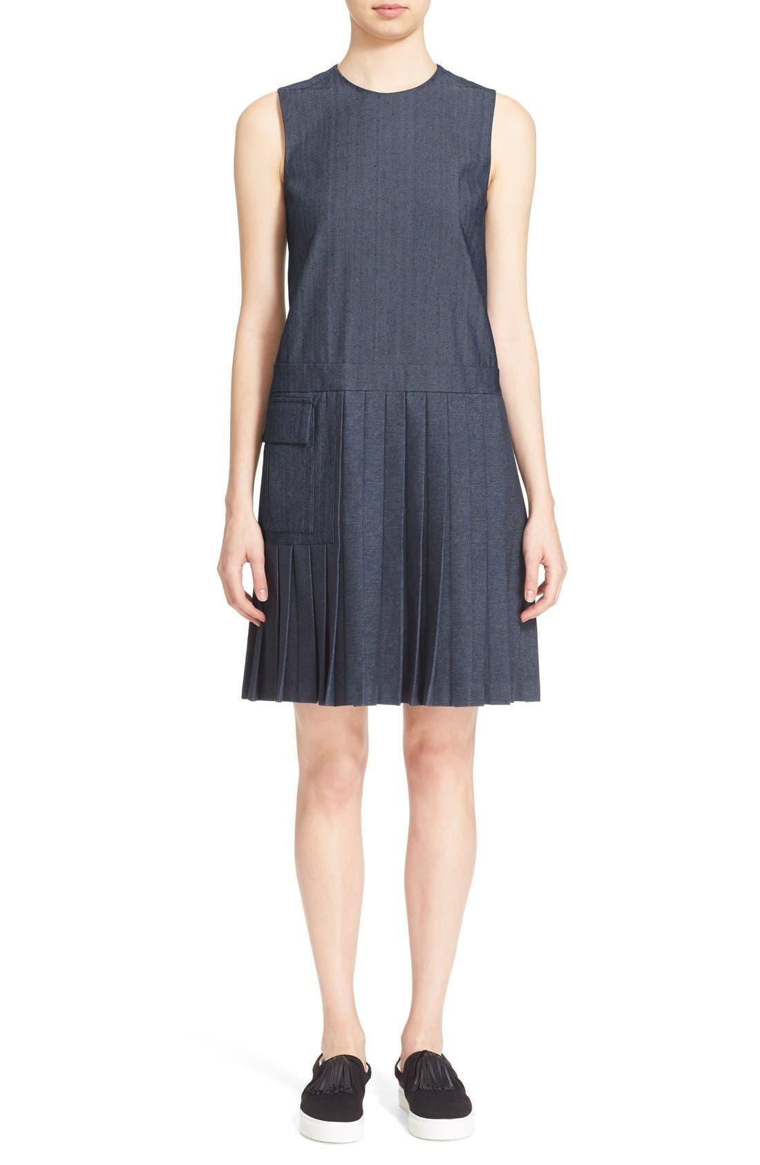 Main Image - MSGM Pleat Bottom Sleeveless Shift Dress