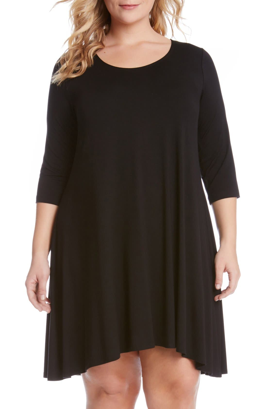 Karen Kane 'Maggie' Three Quarter Sleeve Trapeze Dress (Plus Size)