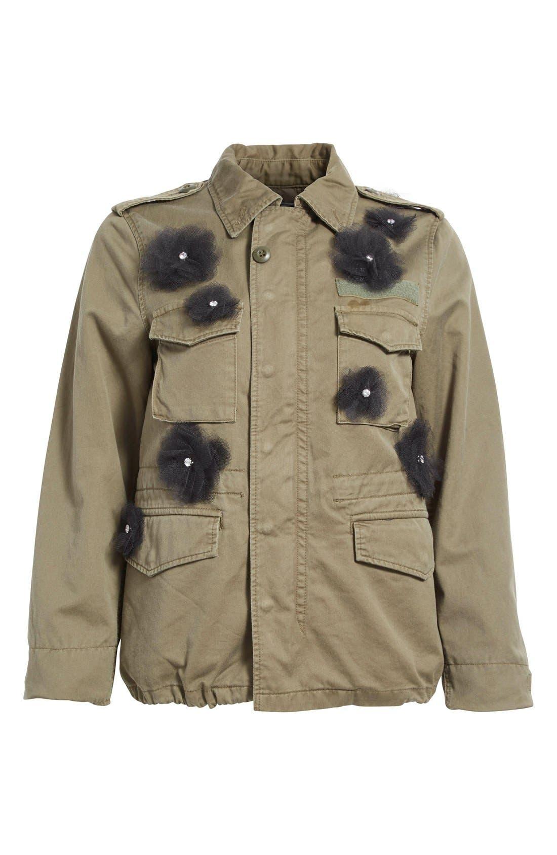 Alternate Image 4  - Tu es mon TRÉSOR Tulle Flower Military Jacket