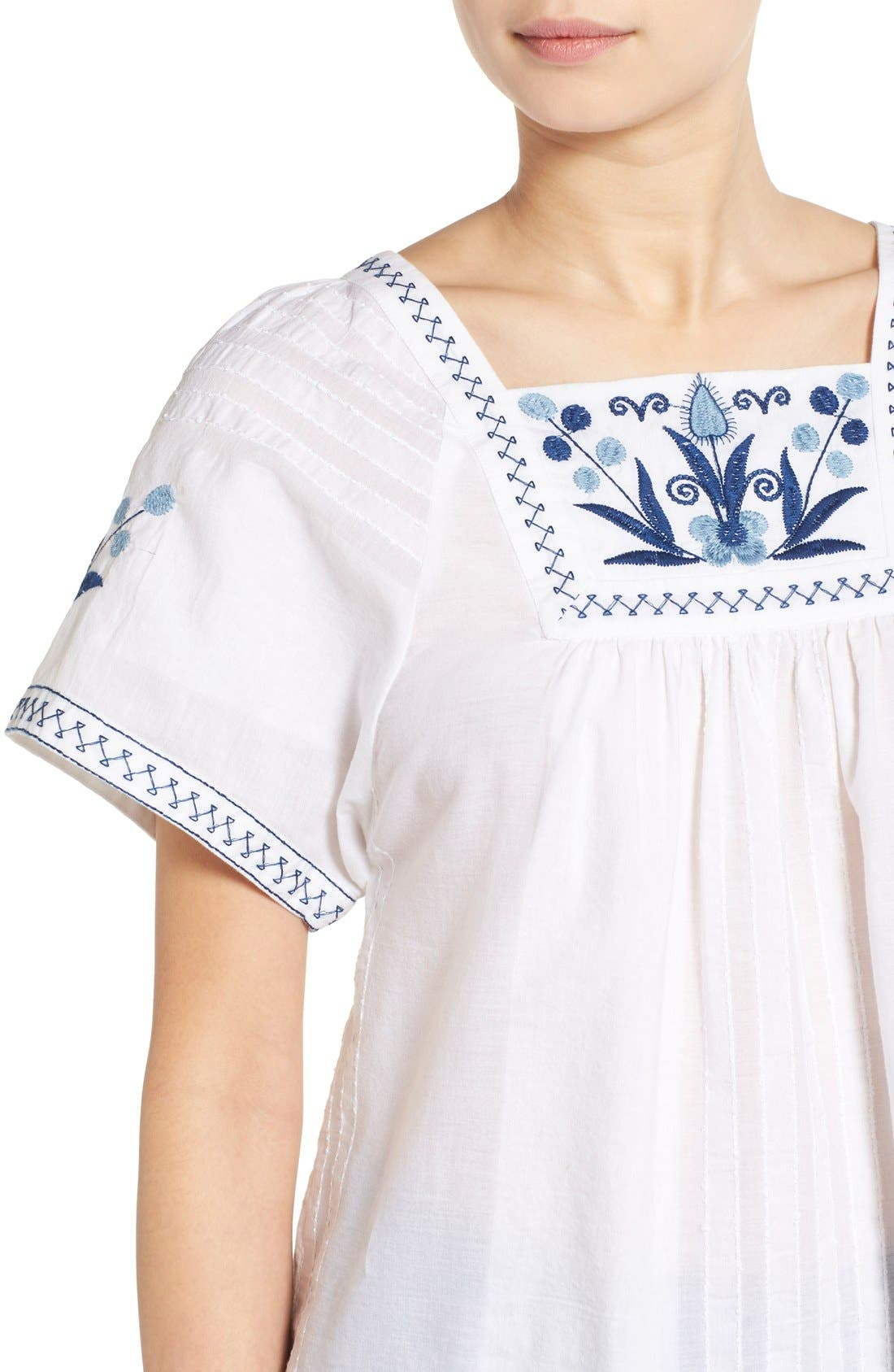 Alternate Image 4  - Madewell Embroidered Short Sleeve Peasant Top