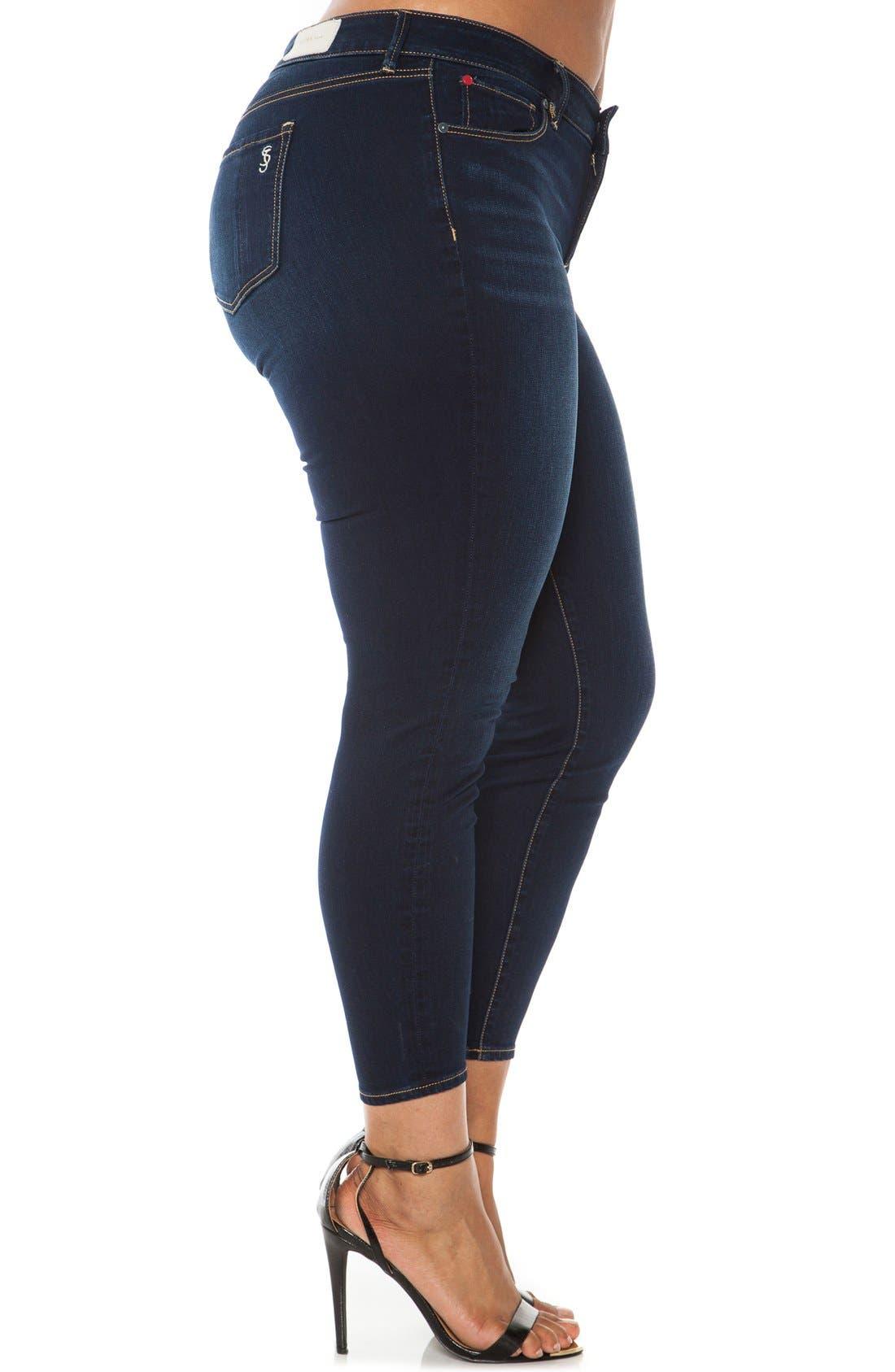 Alternate Image 3  - SLINK Jeans Stretch Ankle Skinny Jeans (Plus Size)