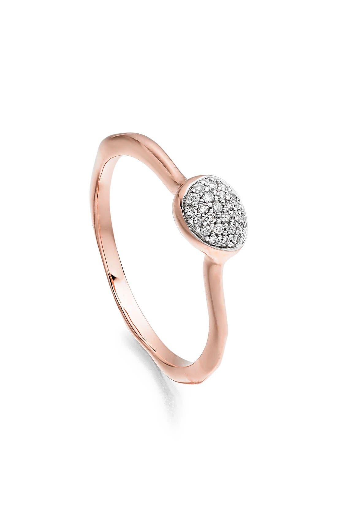 Main Image - Monica Vinader 'Siren' Small Pavé Diamond Stacking Ring