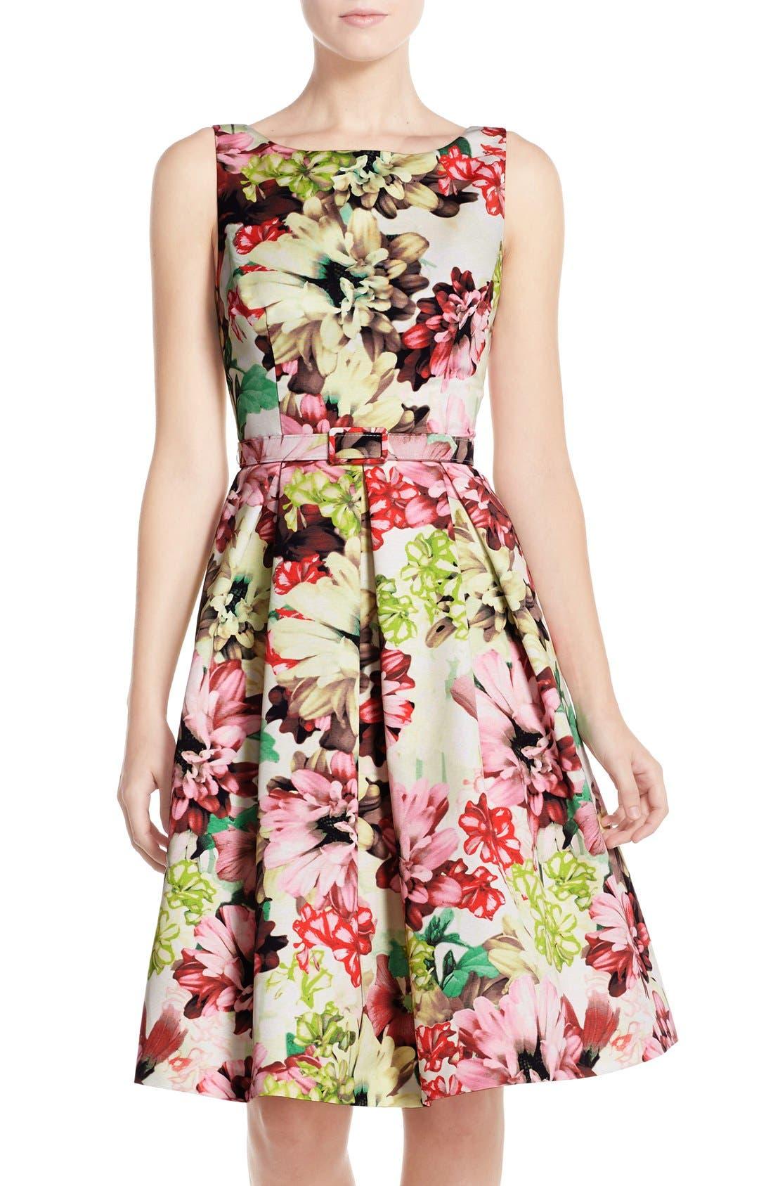 Main Image - Eliza J Belted Floral Print Faille Fit & Flare Dress
