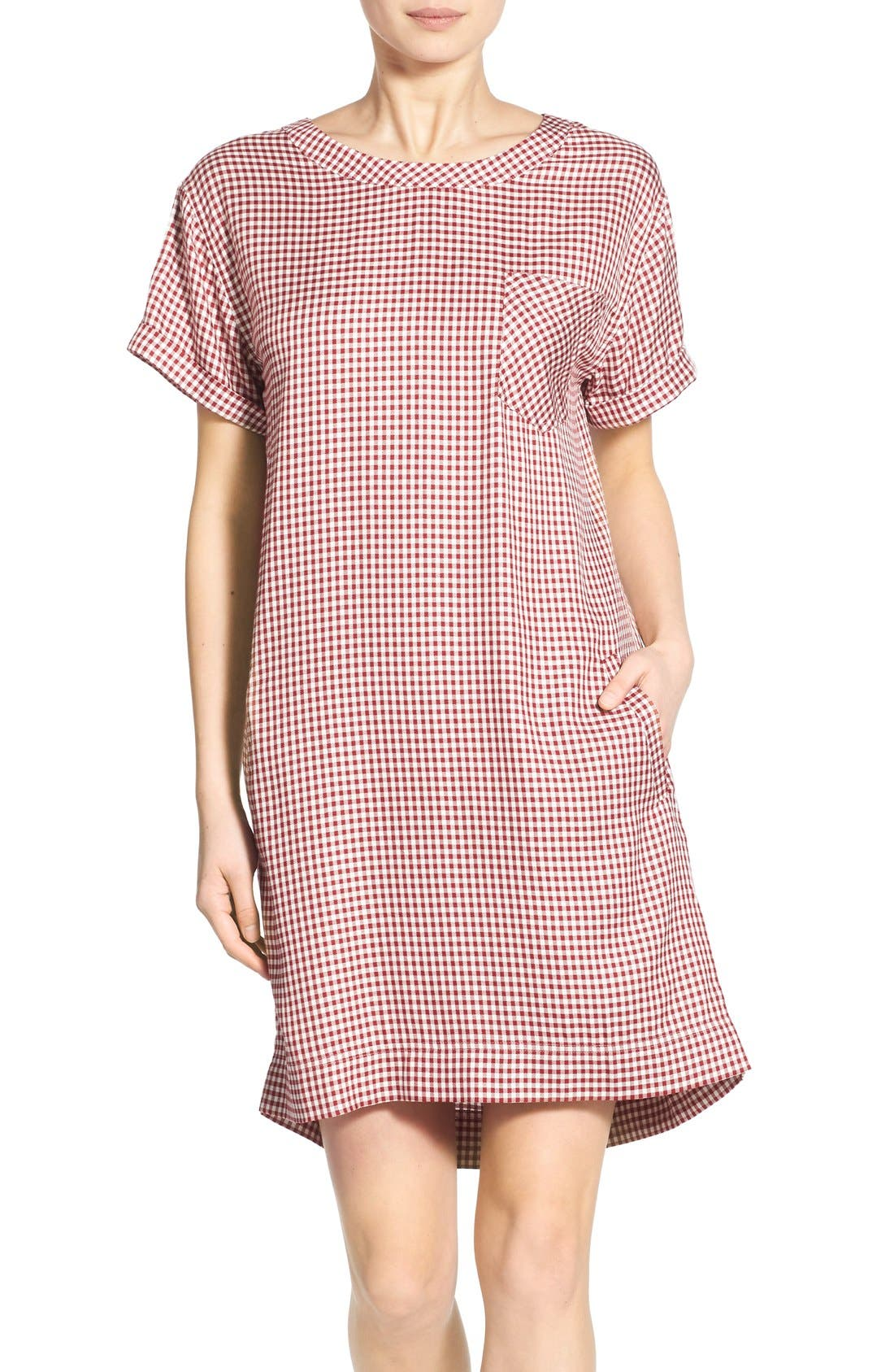 Main Image - Madewell 'Filmscore' Gingham Check Shirt-Sleeve Dress