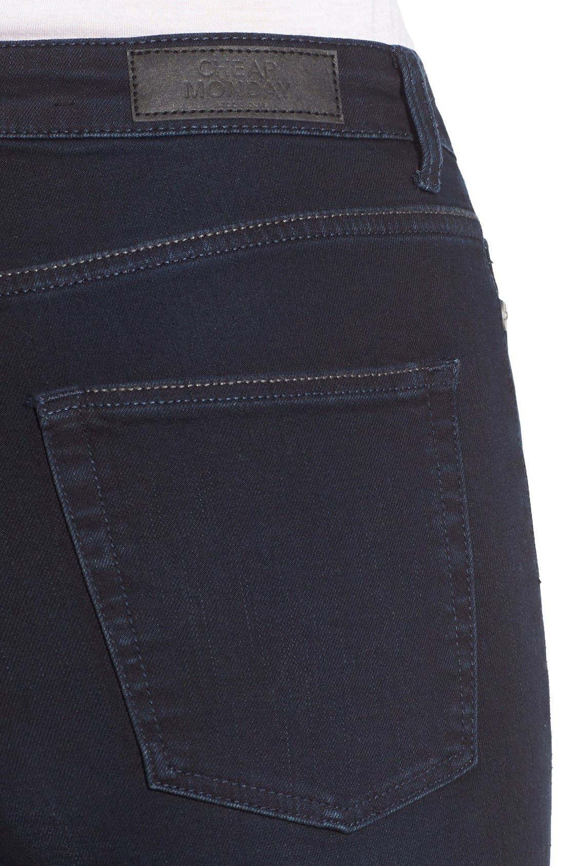 Alternate Image 4  - Cheap Monday High Rise Skinny Jeans (OD Blue)