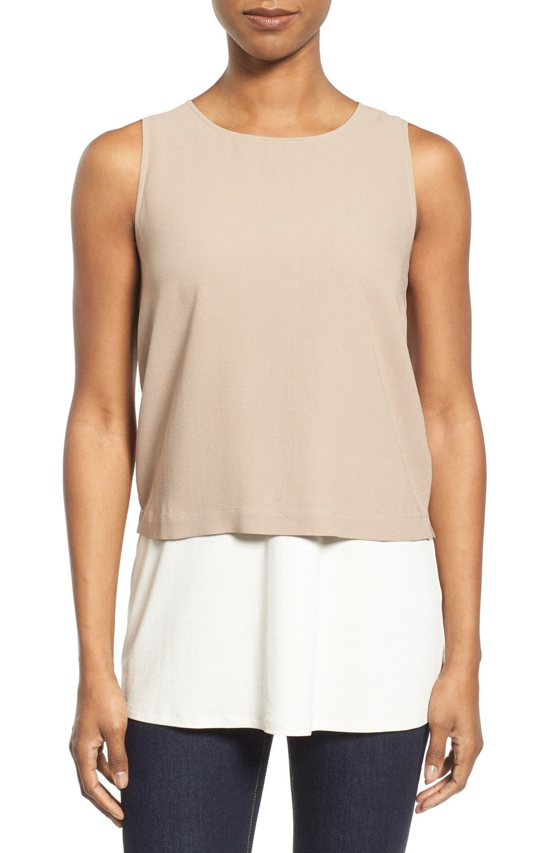 Main Image - Eileen Fisher Silk Round Neck Shell (Regular & Petite)