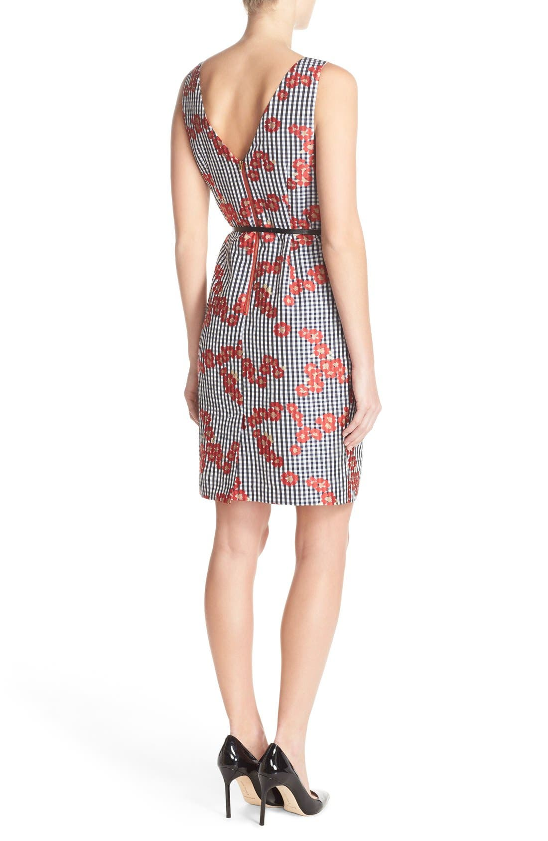 Alternate Image 2  - Adrianna Papell Floral & Gingham Jacquard Sheath Dress (Regular & Petite)