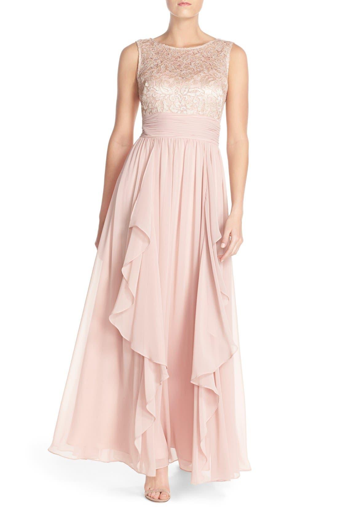 Main Image - Eliza J Lace & Chiffon Gown (Regular & Petite)