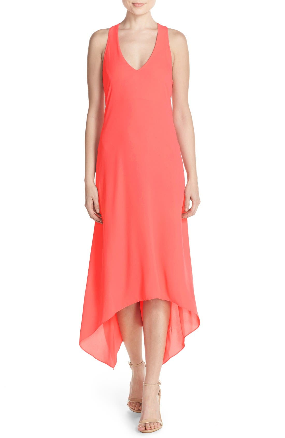Alternate Image 1 Selected - BCBGMAXAZRIA 'Ariell' Cutout Georgette High/Low Maxi Dress