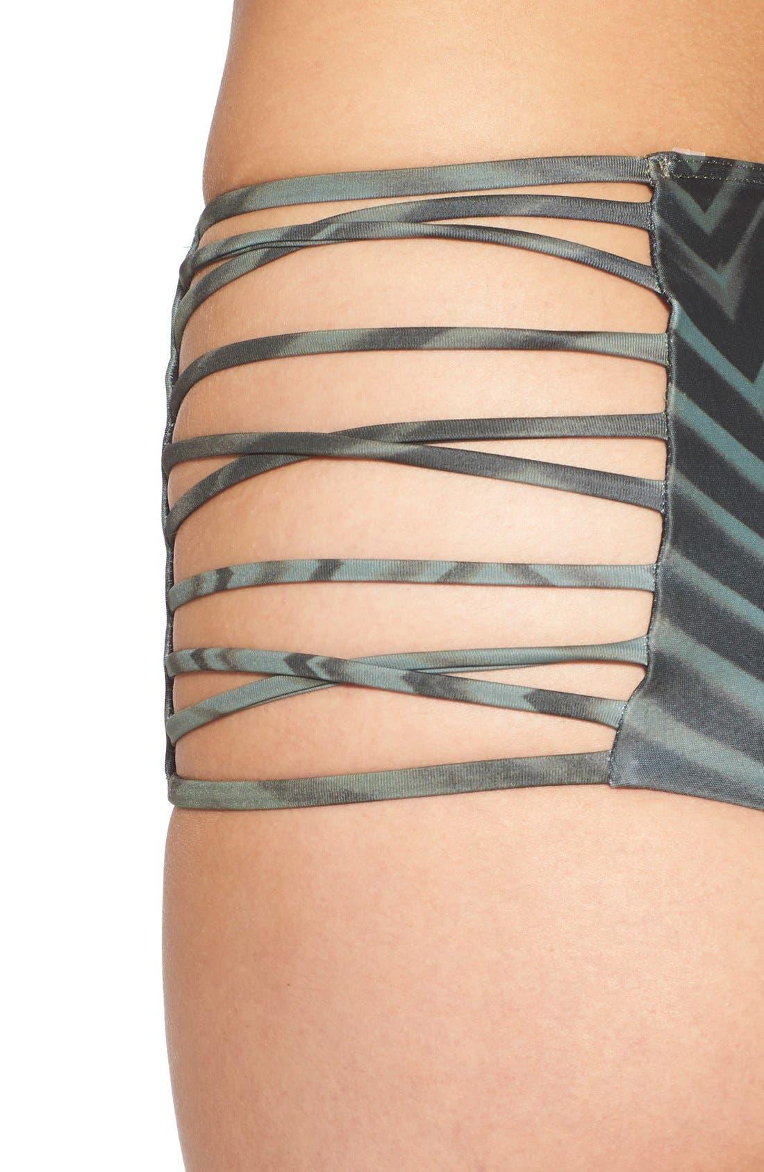 Alternate Image 4  - RVCA 'Palm' Print High Waist Cheeky Bikini Bottoms