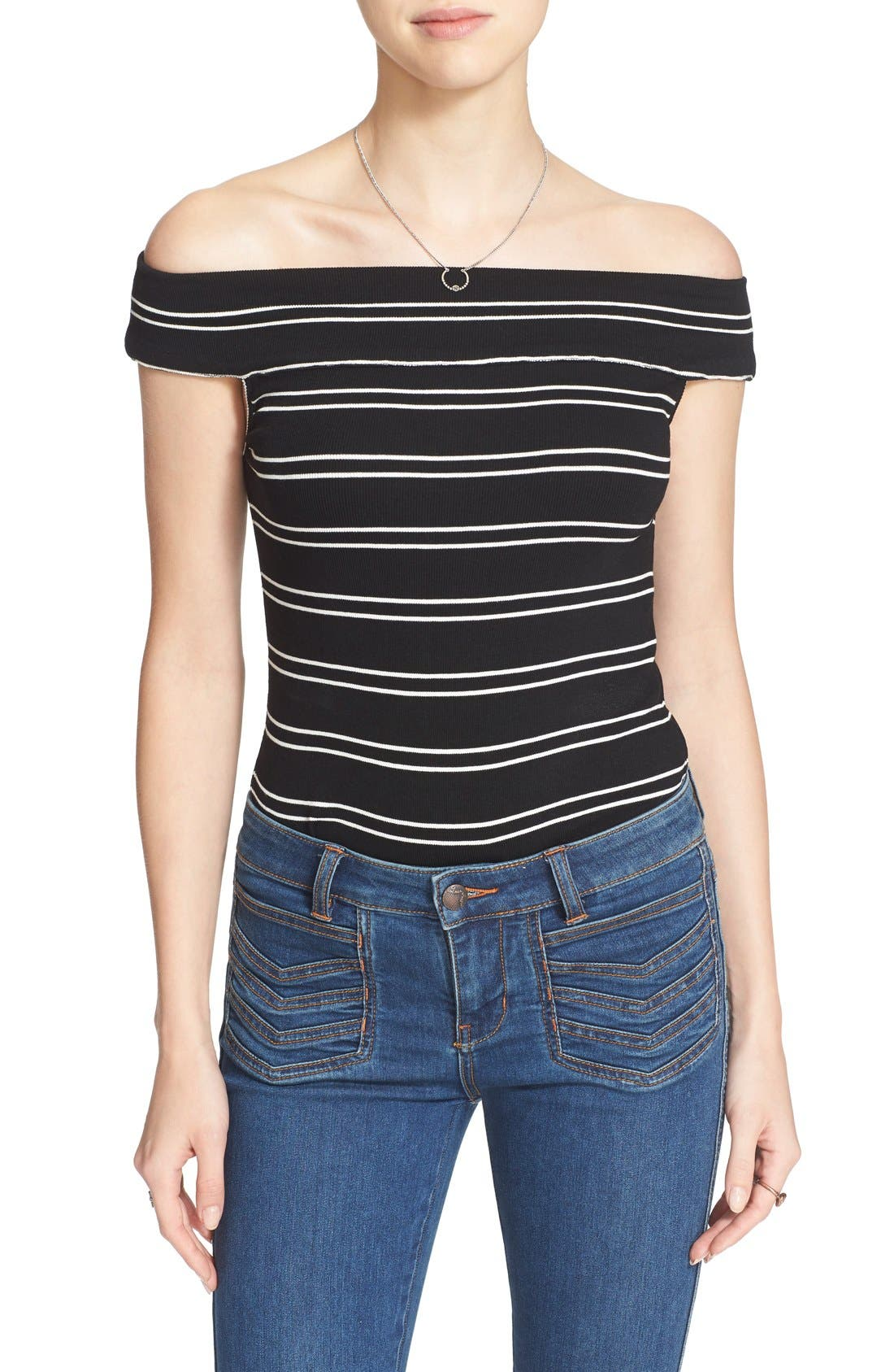 Alternate Image 1 Selected - Free People 'Yacht Club' Stripe Off the Shoulder Tee