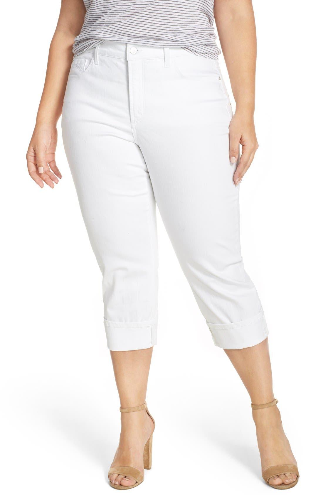 Main Image - NYDJ 'Dayla' Wide Cuff Stretch Crop Boyfriend Jeans (Plus Size)